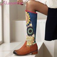 Lasyarrow Femme Cuissardes style chinois talon bloc Med talons Chaussures Plate-forme Printemps Automne Cuissardes équitation Botas