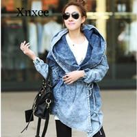 Outono soltas Hooded Cardigan Jeans Casaco de Inverno Casacos Mulheres Denim Trench Feminino Moda Overcoat Gothic casaco azul do vintage