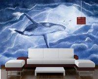 Personalizado alguma tamanho papel de parede 3D Voar Whale pintados à mão Fundo bonito decoração da parede interior 3D Wallpaper animal