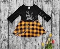 Детская одежда Конструктор Хэллоуин с длинным рукавом пуловер свитер моды плед юбка Outfit осень зима девушки Толстовка платье Костюм D81205