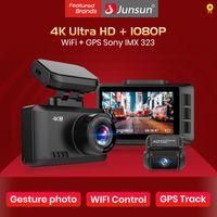 Junsun S595 4K Dash Cam gesto Photo WiFi cámara del coche dashcam 3840 * 2160P 30 FPS Ultra HD DVR GPS del video del dvr del coche perseguidor dashcam
