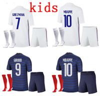 Kinder Frankreich Mbappe Fußball Trikots Kind Kits 2020 2021 Griezmann Pogba Football Hemden 20 21 Pavard Kante Erwachsene Jungen volle Set Uniform