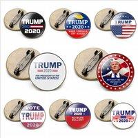 트럼프 배지 2020 미국 대통령 선거 용품 미국의 대 미국 국기 브로치 트럼프 라운드 배지 파티 호의 선물 LJJP404 유지