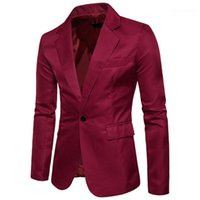Кнопка Сплошной цвет Мужская куртка весна Мужской одежды V шеи конструктора Mens Пиджаки одного способа с длинным рукавом
