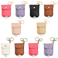 PU Leather Hand Sanitizer Bottle Holder With Empty Refillable Reusable Bottles Wrist Key Chain Hand Soap Bottle Holder for Backpack 30ML