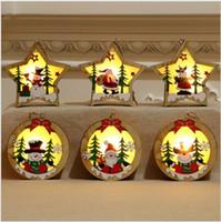 Рождественские светящиеся деревянные кулон елочные украшения светодиодные рулонные подвески рождественские подарка украшения пожилых снеговик олень