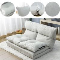 Stock américain, 3-5 jours d'expédition en tissu pliante chaise longue salon canapé-lit canapé-lit avec deux oreillers (gris) PP036318AAA