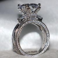 Taille 5-11 luxe Bijoux 12CT topazes Pierres précieuses Argent 925 Simulé engagement de mariage de diamant Pave Tour Eiffel Bague cadeau