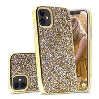 반짝이 전기 도금 두 -에 - 하나의 다이아몬드 안드로이드 휴대 전화 케이스 라인 석 블링 휴대 전화 케이스 커버 아이폰 (12) (11) XR X XS 최대 7