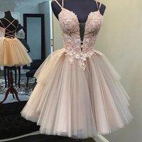 Belle Corsage bretelles spaghetti coupe Homecoming robes rose Arching taille Robes de graduacion Courte Mignon Tulle Robe de Soirée