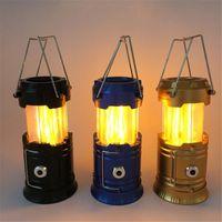 Lanternas portáteis alimentado 2-em-1 LED Camping luz chama lâmpada decorativa lanterna lanterna para emergência