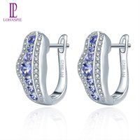 Tanzanite Women's Clip Hoop Huggie Earrings Real Solid 925 Sterling Silver Natural Gemstone Fine Elegant Jewelry Lady Girl Fashion Gift