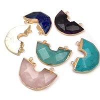 Encantos Piedra Natural Semicírculo Forma Colgantes Charm Facetado para Joyas Maquillaje Suministros DIY Collar Accesorios Tamaño 30x40mm