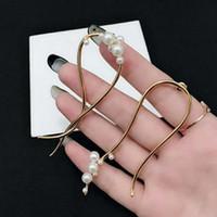 Hot vente nouveau simples boucles d'oreilles irrégulières de créateurs de mode perle luxe design femmes bijoux boucles d'oreilles