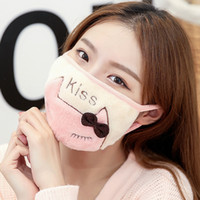 Winter new plush double layer student cute cartoon cat letter embroidery riding dust-proof warm mask for women