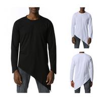 Erkek T-Shirt Düzensiz Bölünmüş T Gömlek Erkekler Sonbahar Erkek Harajuku Hip Hop Cosplay Dans Tişörtleri Casaul Gevşek Fit Katı Renk Tee Homme