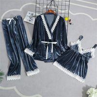القطيفة المرأة المنزل ارتداء منامة 3 قطع حزام أعلى السراويل دعوى النوم مجموعات ثوب النوم مثير كيمونو النوم رداء حمام ثوب
