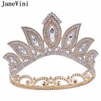 JaneVini barroco diamante moldeado venda cristalina tiaras y coronas joyería del pelo de la reina de la vendimia de novia Trenzas boda real Corona