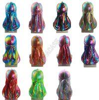 Colorful Laser Sparkly Durags Turban Shiny Silky Durag Bandana Turban Wave Caps Headbands Headwear Accessorries Pirate Caps D82411