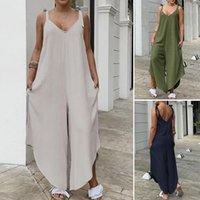 Women's Jumpsuits & Rompers ZANZEA Wide Leg Jumpsuit Women Sleeveless Pockets Playsuit Lace-Up Cotton Asymmetrical Solid V-Neck Trousers 202