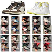 أعلى Jumpman 1 أحذية الباندا فانتوم كرة السلة بلا خوف حجر السج UNC الشعلة أحذية هير لعبة المرأة رجل حذاء الرياضة مع صندوق حجم 36-48