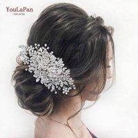 YouLaPan HP352 Brauthaar-Brötchen-Klipp-Combs Blumen-Mädchen-Accessoires für Hochzeit Haar Rebe-Klipp-Legierung Blumen-Hochzeit Haarteil