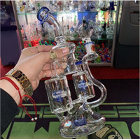 "8.7"" Pipas de agua de cristal azul púrpura verde grueso Recyler Heady vaso de precipitados Bongs Rocket con dos capas de filtro de reflujo rotando el WinDMI"