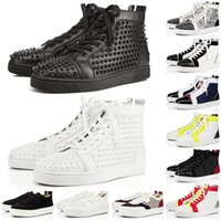 christian louboutin designer luxury Brand Sneaker Hombres Mujeres Zapatos para Correr Negro Blanco Plata Juego de Patrones Royal Work Blue Trainer Sport Sneakers