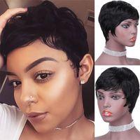 Cabello humano brasileño Máquina llena Peluca de peluca corta Pixie Corte Pelucas Venta caliente Mallas de hongos bastante cortos para mujeres negras