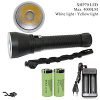 4000 lumens Cree XHP70 yellow white flashlight for diving, 2...