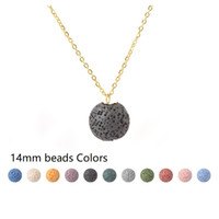 14MM Round Lava Stone Bead Necklace Aromatherapy Essential O...