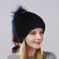 비니 / 두개골 모자 패션 스타일 모자 모피 공을 양식 헝겊에 꿰매어 머리를 가진 머리카락을 가진 진짜 자연