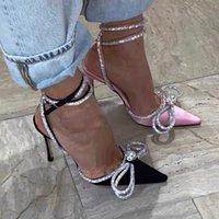 Pist tarzı Glitter Rhinestones Kadınlar Satin Yaz Lady Ayakkabı hakiki deri Yüksek topuklar Parti Balo Ayakkabı ilmek Crystal pompaları