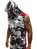 Hoodies Men Fashion Bekleidung Hot Mens Sleeveless Hoodies 3D-Druck Fitness Sports Vest Herren Cotton Zipper