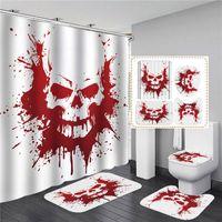 Conjuntos de casa de banho do Dia das Bruxas Shower Curtain Set 180X180CM com forma de U Rug Mat Set WC Extra Cover Cortina longo banho