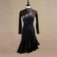 latin dance competition dresses women samba rumba tango latin dance dress lace black lq095