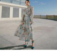 2020 ранний осенний новый французский стиль элегантный стиль торт платье принцесса башня юбка с высокой талией тонкий шнурок печать
