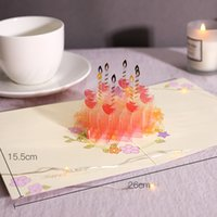 Birthday 3D Cake Greeting Cards Creative Foldable Blessing Greeting Card Creative Hollow Paper Cards for Birthday Gift