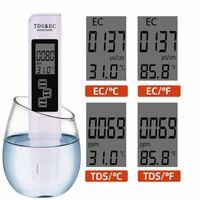 3 في 1 PH متر TDS EC متر درجة الحرارة الرقمية LCD اختبار الماء القلم الطهارة تصفية مع 4 تستر مستوى مختلف وسائط المياه