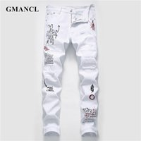 New Men Streetwear personality Ripped printed white skinny J...