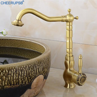 Retro Basin Faucet Single Hole Deck Mounted Tap Antique Gold...