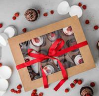 OEM bricolage en vrac papier kraft fenêtre transparente 4 6 12 24 trous Muffin Coupe du gâteau Petit gâteau d'emballage Boîte de gros transparent Mini petit gâteau boîte-cadeau Wrap
