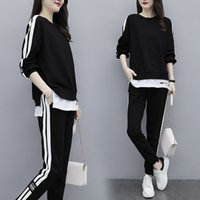 Semfri Eşofman 2020 İlkbahar Sonbahar Bayanlar Suit Pamuk Plus Size O-Boyun Sweatshirt + Patch Renk Pantolon İki Adet Set T200826