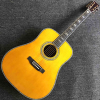 Benutzerdefinierte Groß Massive Fichtenholz Top Yellow Top Ebony Griffbrett Alle Abalone Binding akustische elektrische Gitarre L Customized Accept