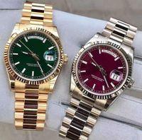 Оптом высококачественный красный открытый 41 мм циферблат автоматический намотки мужские часы сапфир кристалл роскошный модный день часов дня