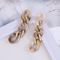 Nueva moda de cadena larga de acrílico de la vendimia pendientes de gota de gran tamaño solo pendiente para la Declaración de Mujeres geométrica Resina regalos de joyas pendiente retro