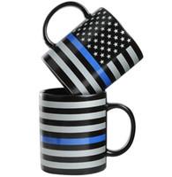 블루 라인 USA 경찰 머그컵 블루 라인 머그컵 세라믹 커피 우유 컵 트럼프 커피 텀블러 손잡이 세라믹 컵 GGA3667