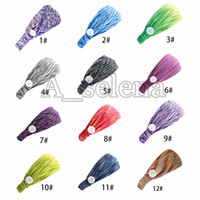 Máscara Headband com botão Elastic Yoga ajustável antiderrapante hairband Sports Sweat Basketball Tafilete estiramento Headbands
