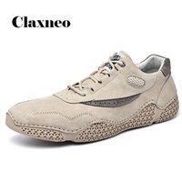 Man Shoes Leather 2020 Autumn Men's Casual Shoe Khaki Fashion Male Walking Footwear Design Handmade Soft New