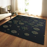 DeMissir Snowflake Print Black Large Carpet For Living Room ...